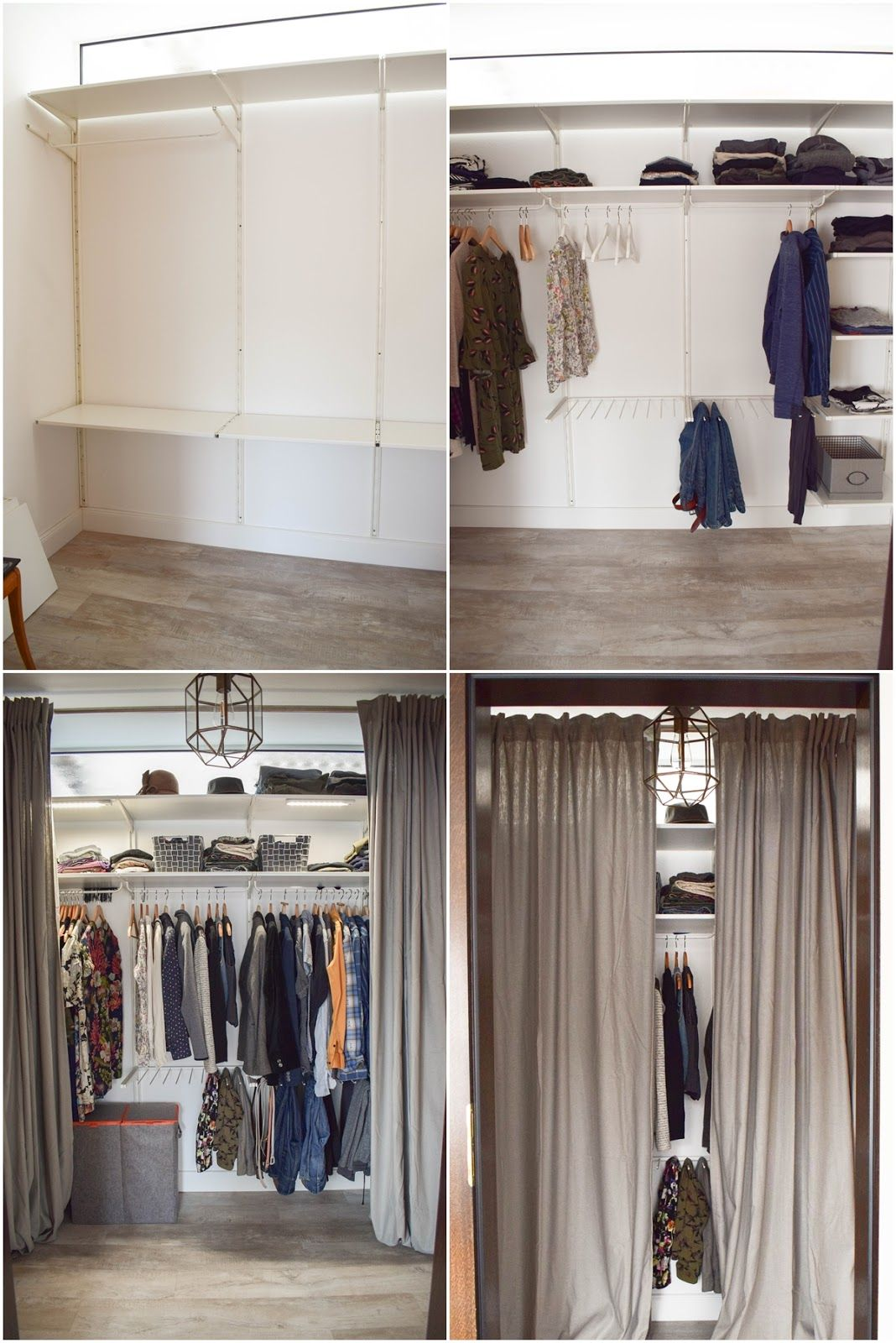 Flexible wardrobe. Before, afterwards. Practical storage for clothing tips and advice