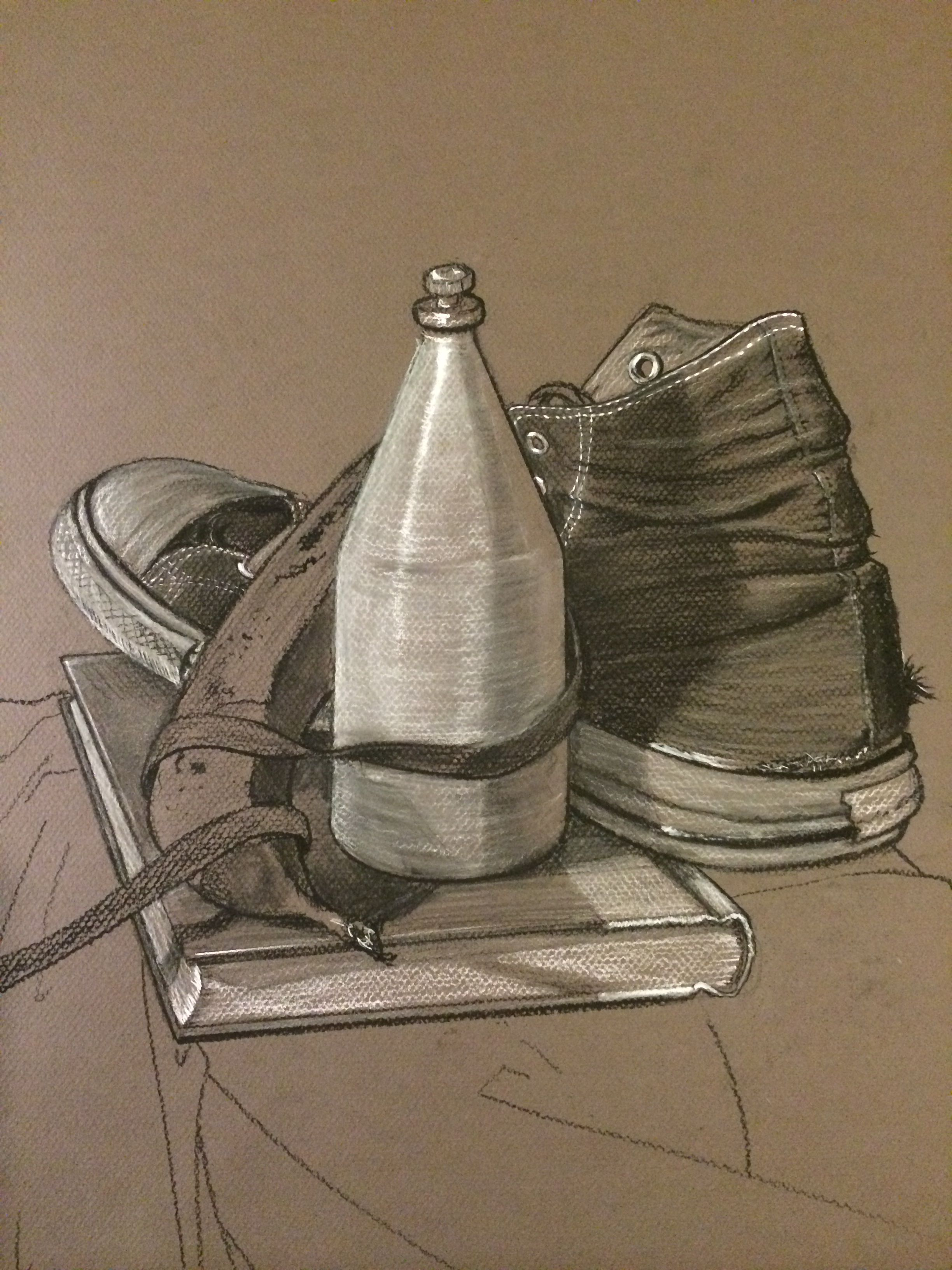 Charcoal Drawing Of Still Life Including Old Spice And