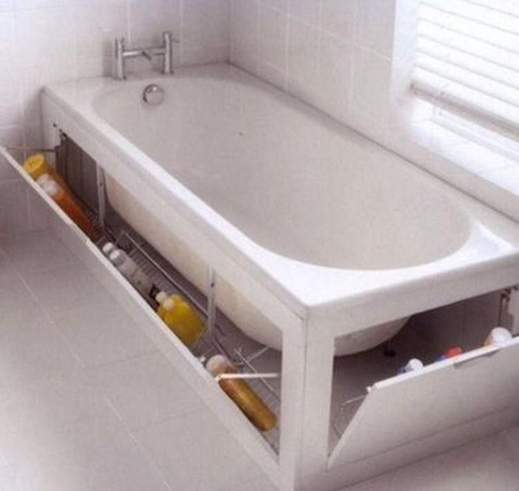 Storage for shampoo, shower gel, etc. built into side and end of ...
