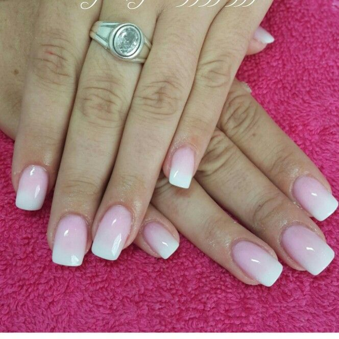 love these white and pink ombre acrylic nails nails