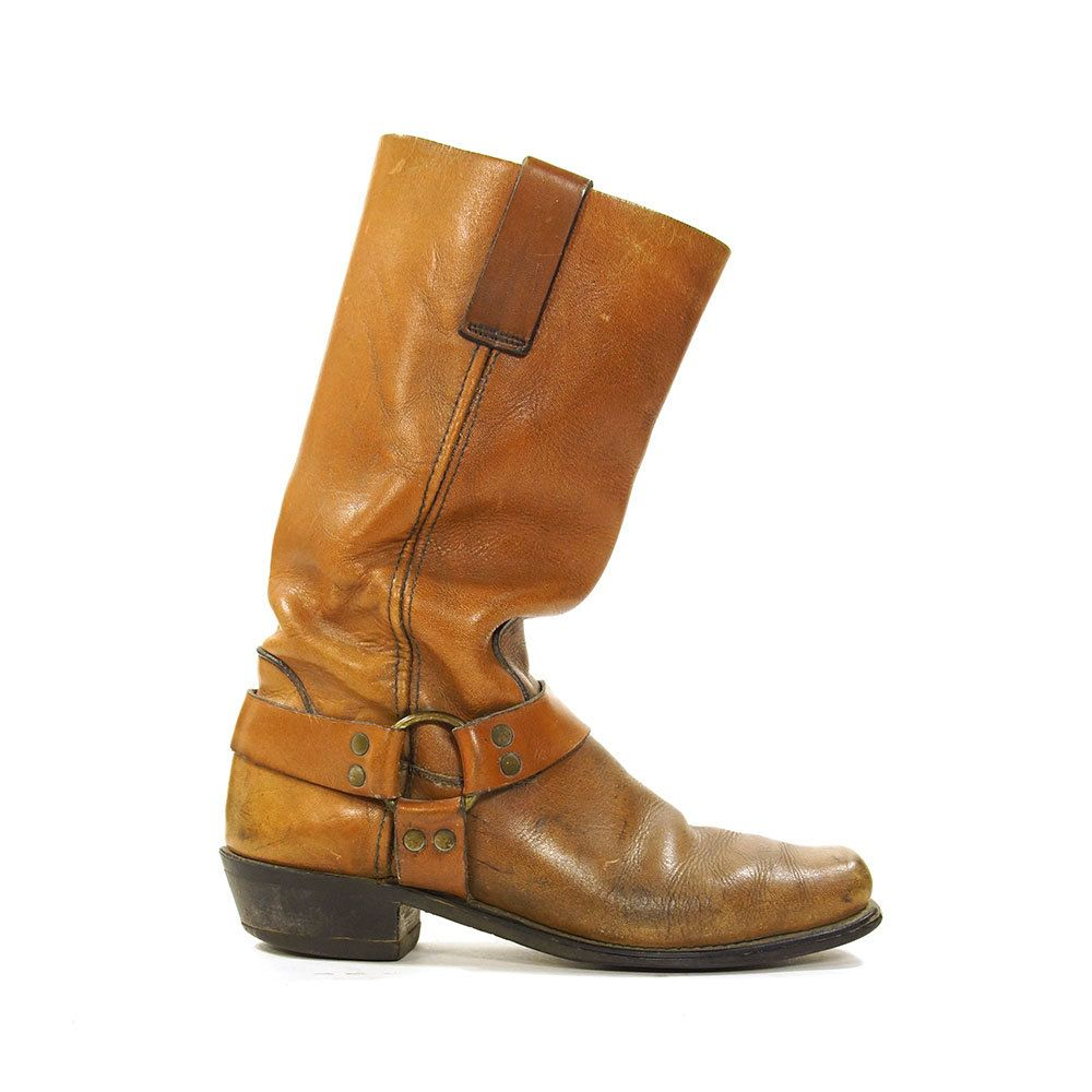 0be76175f060e 70s Motorcycle Boots with Ankle Harness / Distressed Brown Leather ...