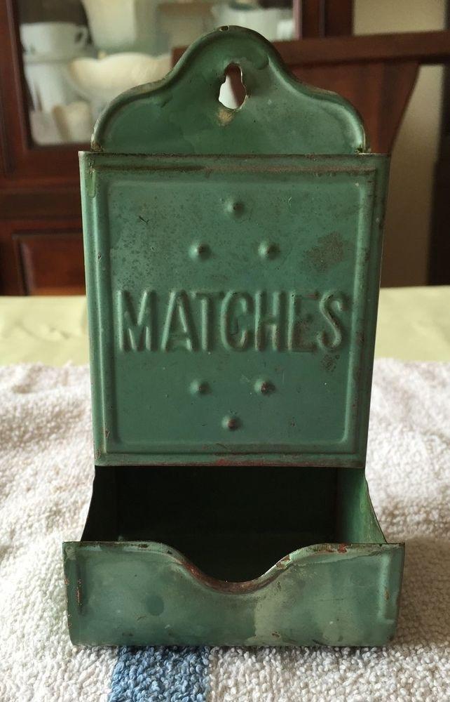 Vintage TinBrass Metal Match Box Holder Match Safe Wall