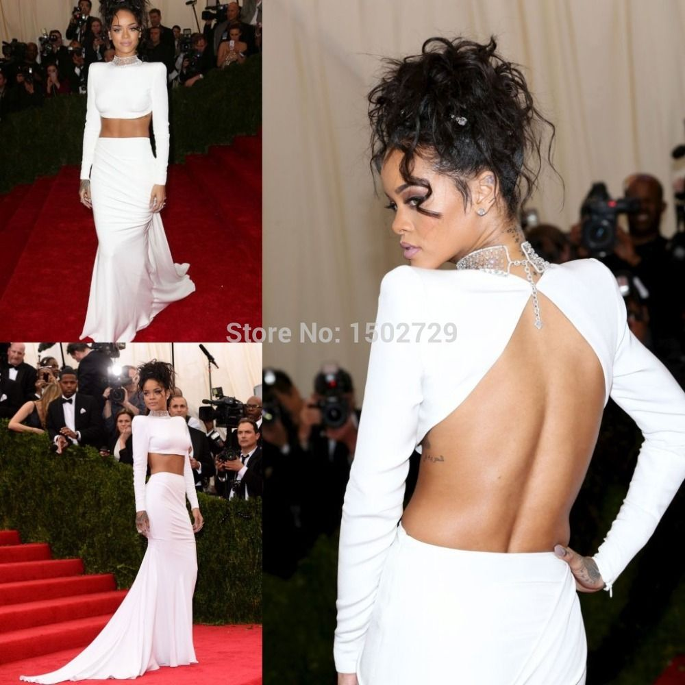 Met Gala Rihanna White 2 Two Pieces Prom Dresses Mermaid Backless ...