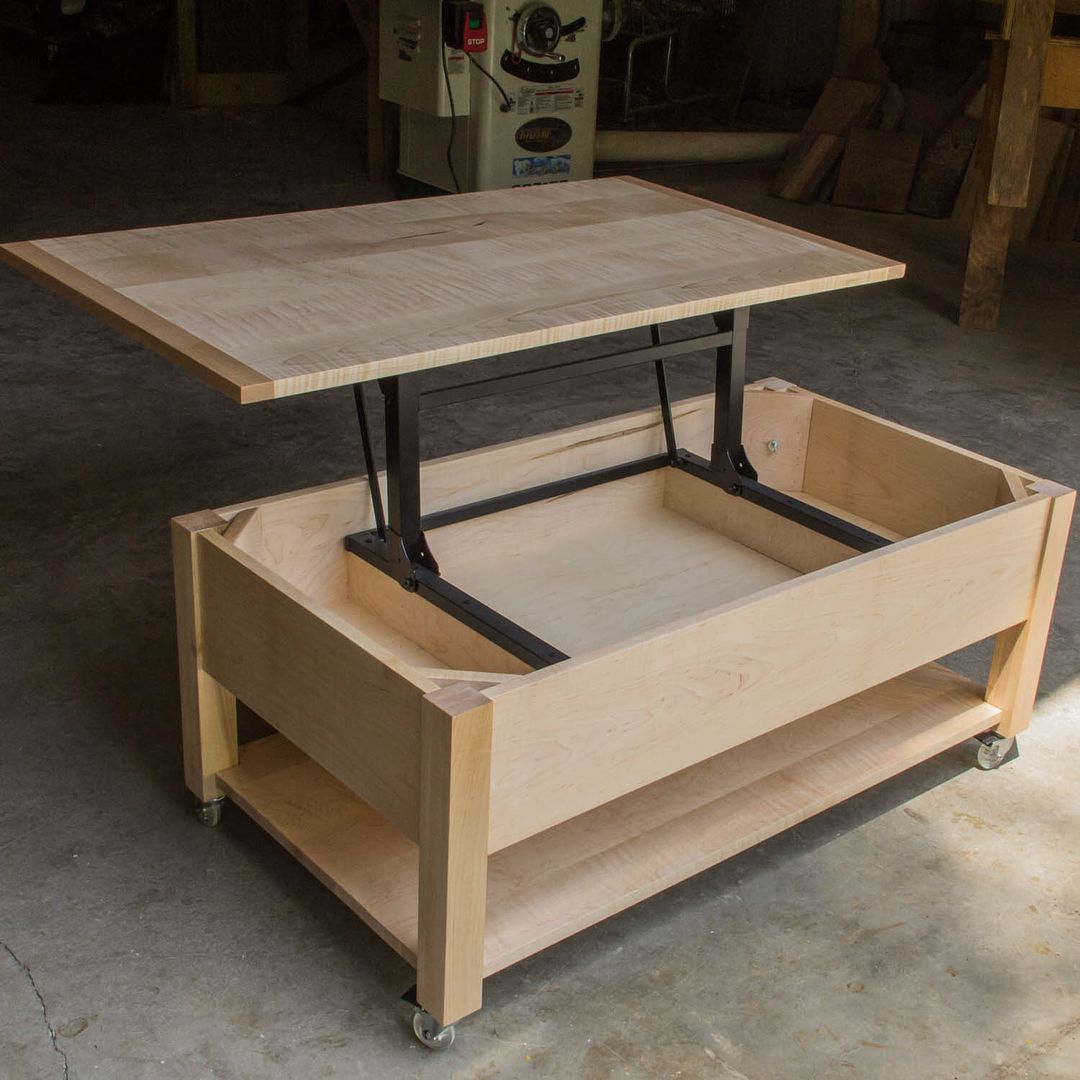 Used Solid Wood Coffee Table: Curly Maple And Maple Lift-top Coffee Table To Match The