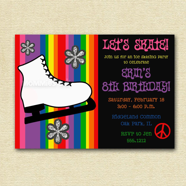 Ice Skate Ice Skating Birthday Party Invitation