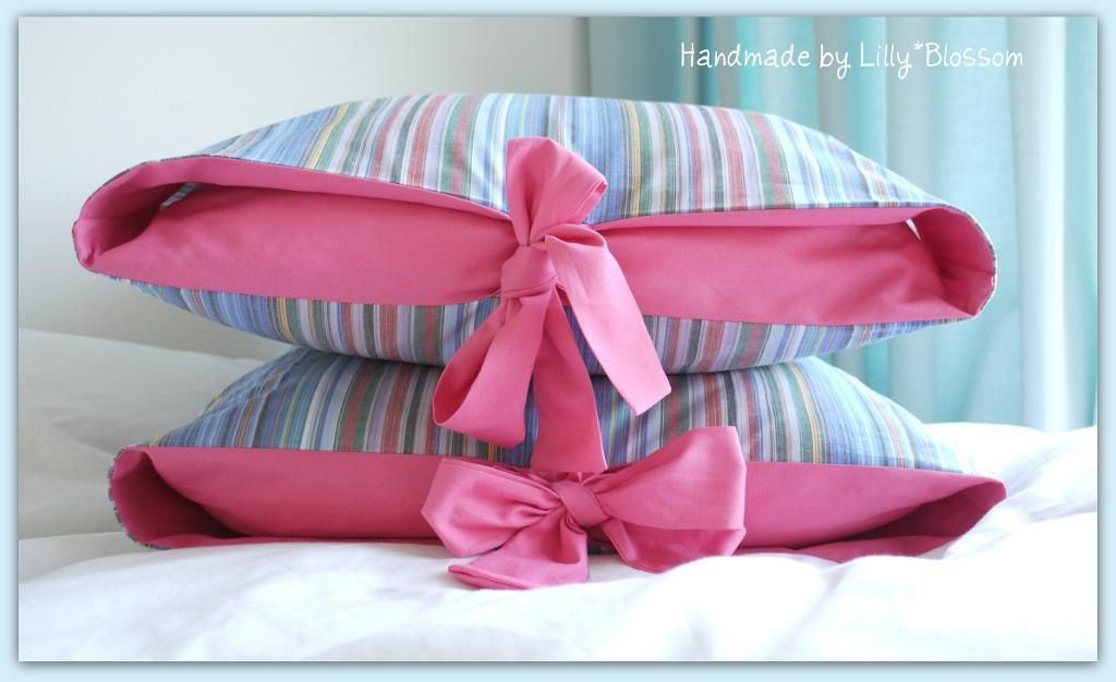 Contrast Tied Pillow Cover Sewing Guide Tie Pillows Sewing