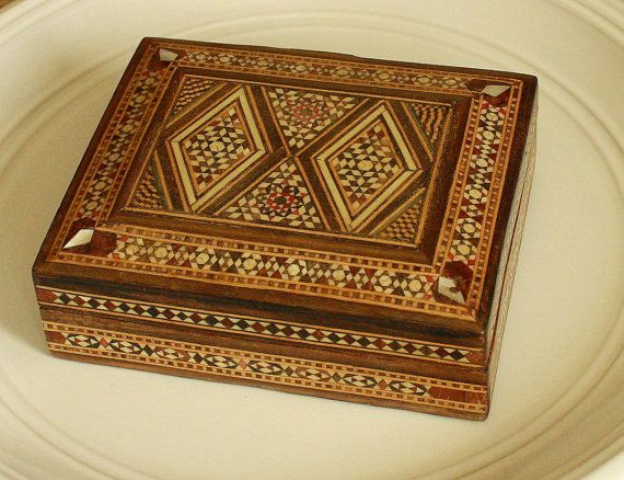 small decorative wooden box jewelry box trinket box ornate decorative embellished inlaid with wood and mother of pearl - Decorative Wooden Boxes