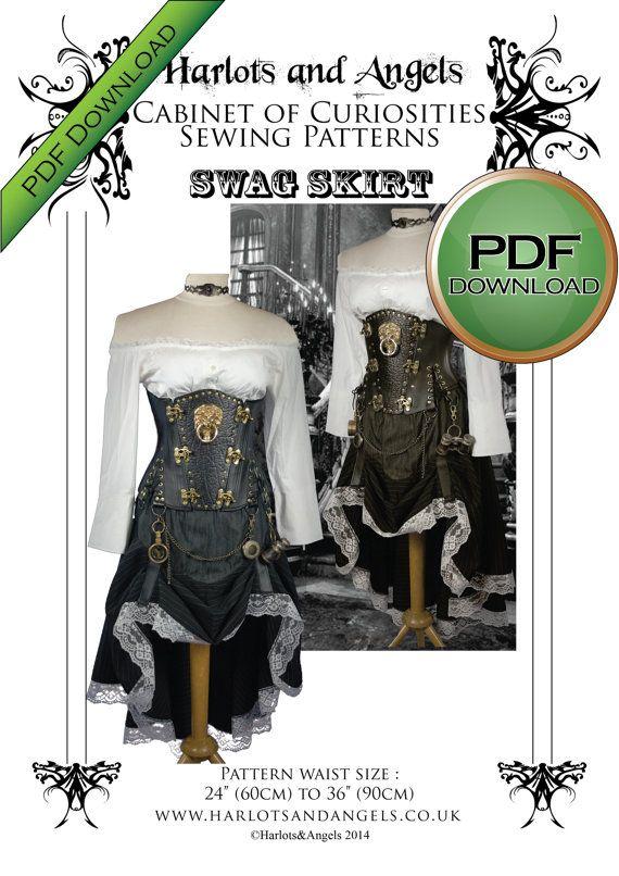 skirt sewing pattern steampunk pattern digital download pdf pattern western cosplay larp