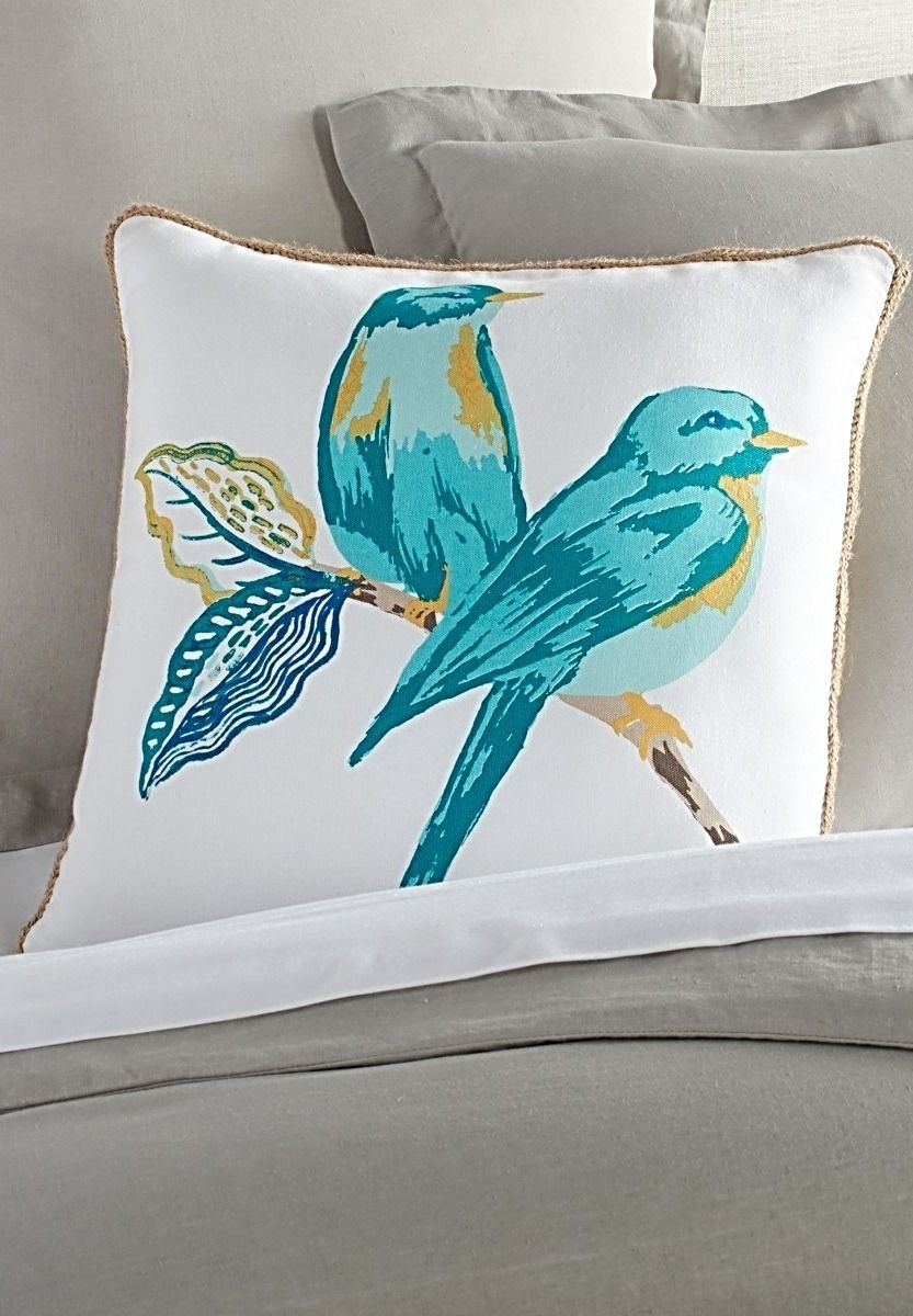 Two perky western bluebirds chirp their greeting to spring on the front of our cute Stella Birds Pillow. The colorful front is screen printed on cotton. Braided jute trim adds the perfect finishing touch.
