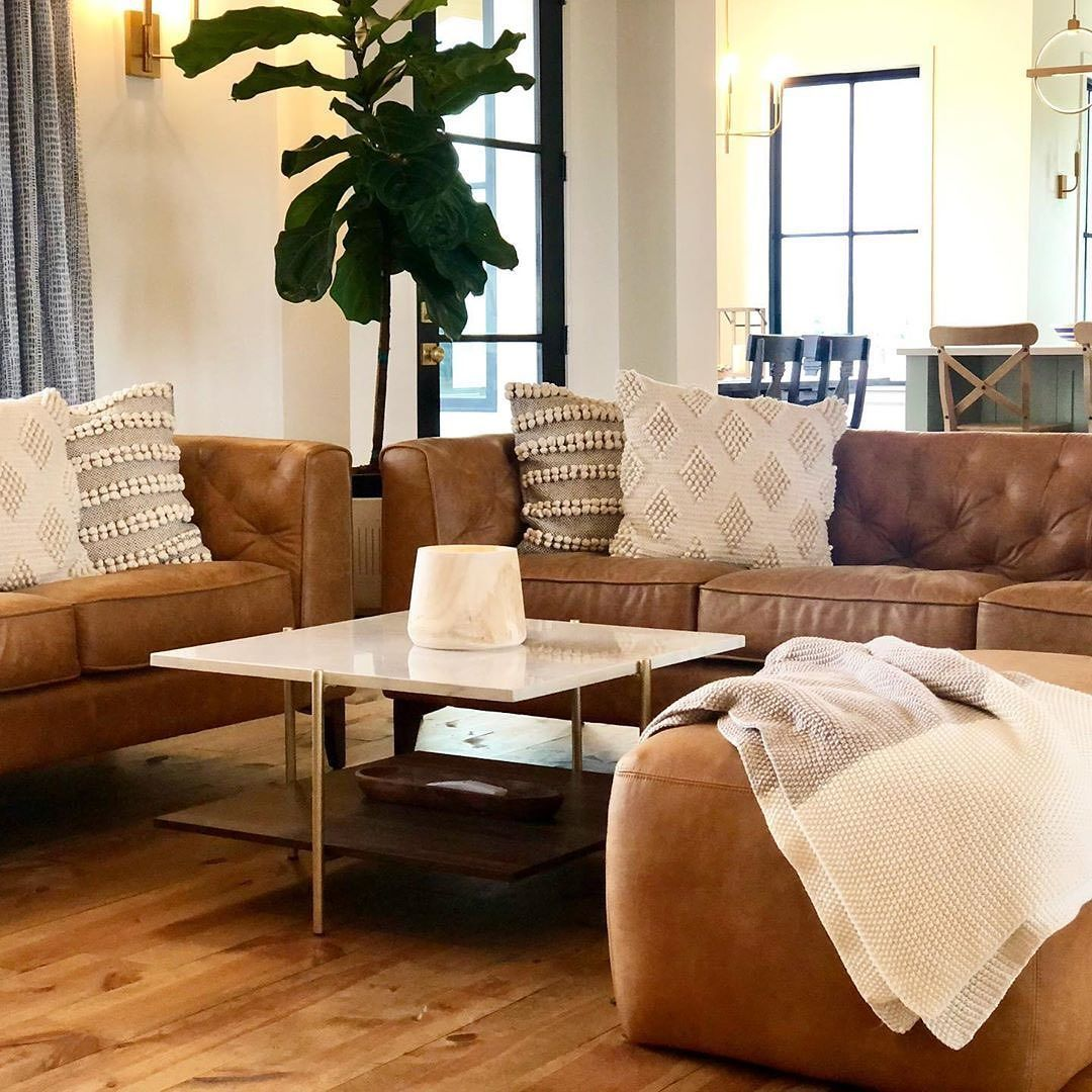 Poly Bark On Instagram Neutral Perfection Vonbumannhomes Featuring Our Essex Sofa And In 2020 Leather Couches Living Room Brown Couch Living Room Tan Living Room