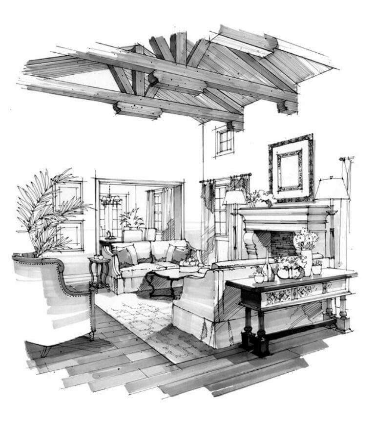 Ink And Markers Black And White Technique Interior Design Renderings Interior Design Sketches Drawing Interior
