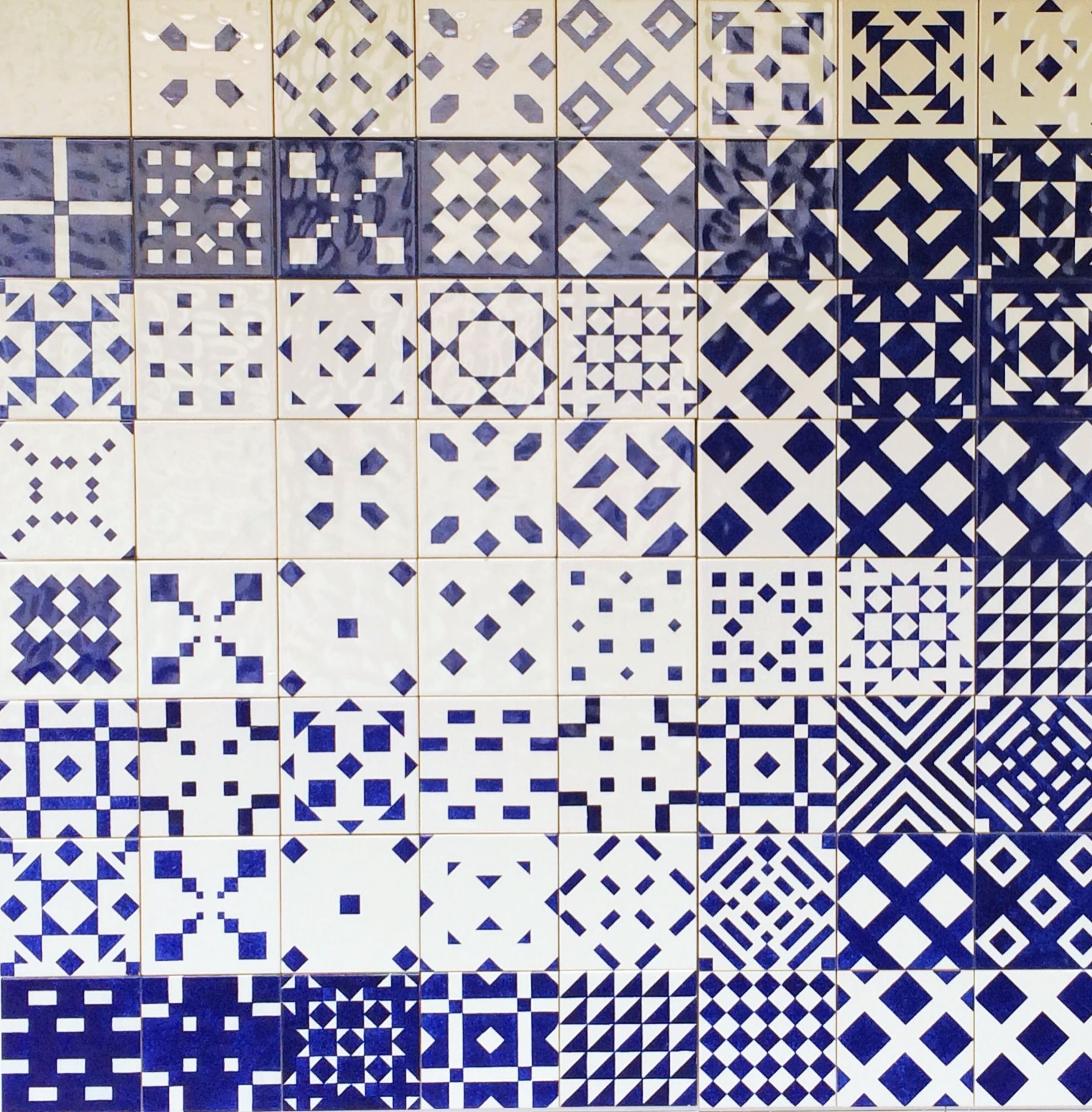 Graphic Pattern Blue And White Ceramic Tiles Lisbon