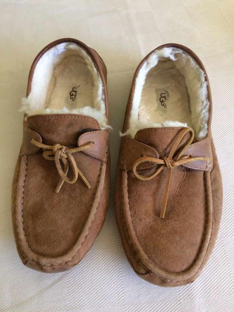 fe71d949bb7 Men's UGG Slipper Size 12 Sherpa Lined Tan Suede Byron Rubber Sole ...