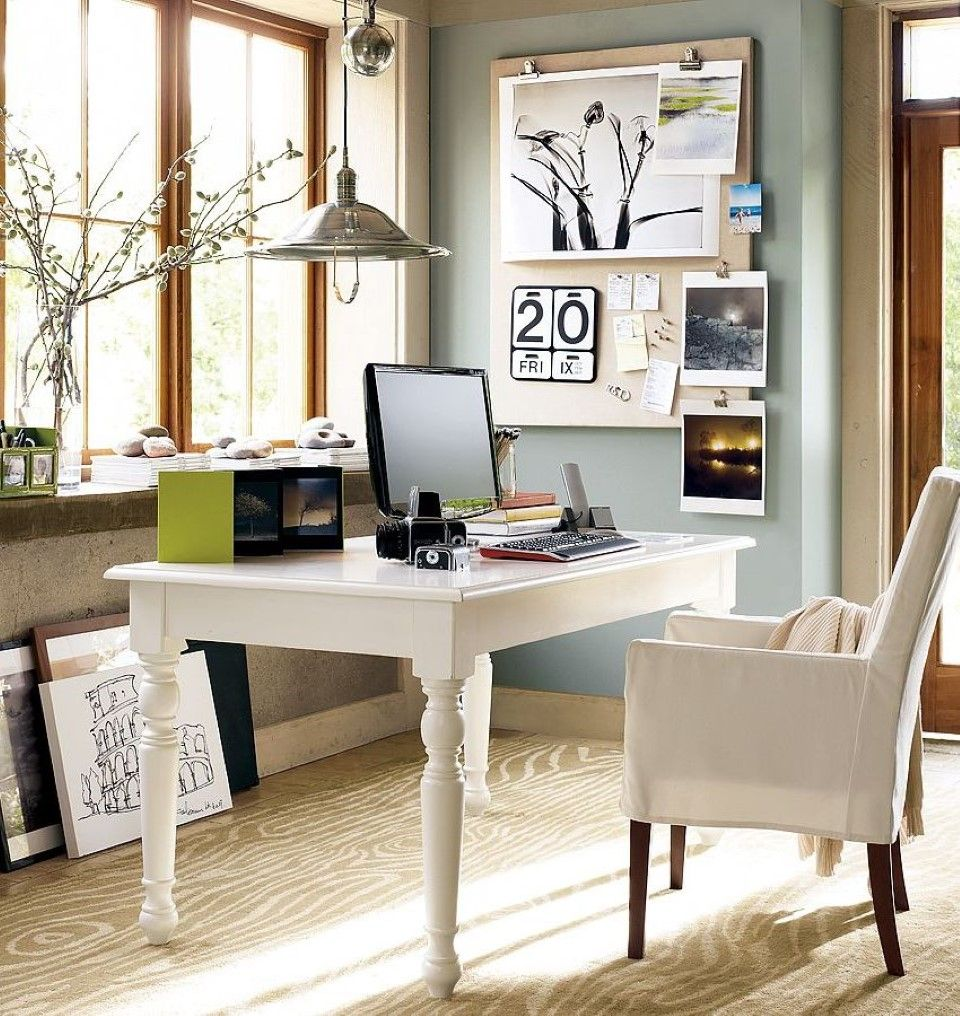 Office:Scandinavian Home Office Design With Slim White Table And ...