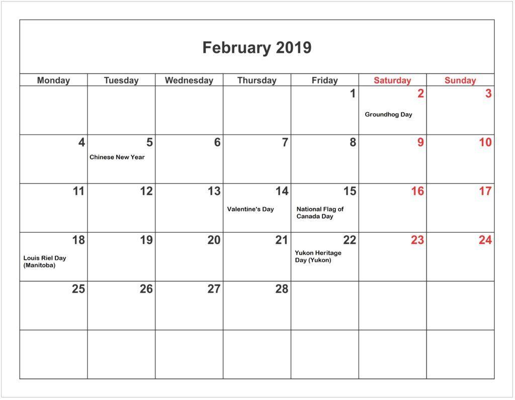 February 2019 Calendar With Holidays Template | Calendar uk, 2019 calendar, February calendar