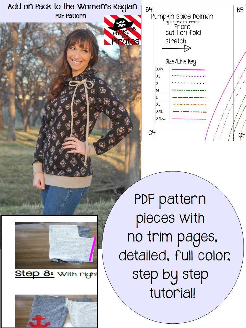 Raglan Add On Pack Patterns For Pirates Raglan Shirt Women