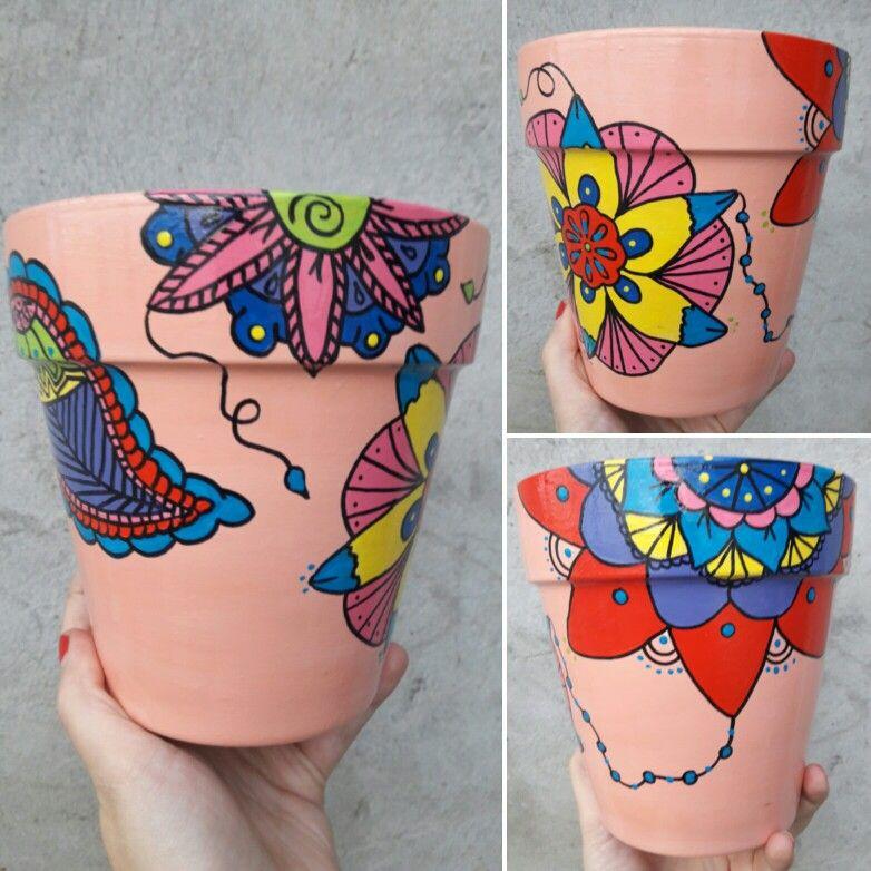 Maceta pintada a mano con mandalas by Tijuana store ❤
