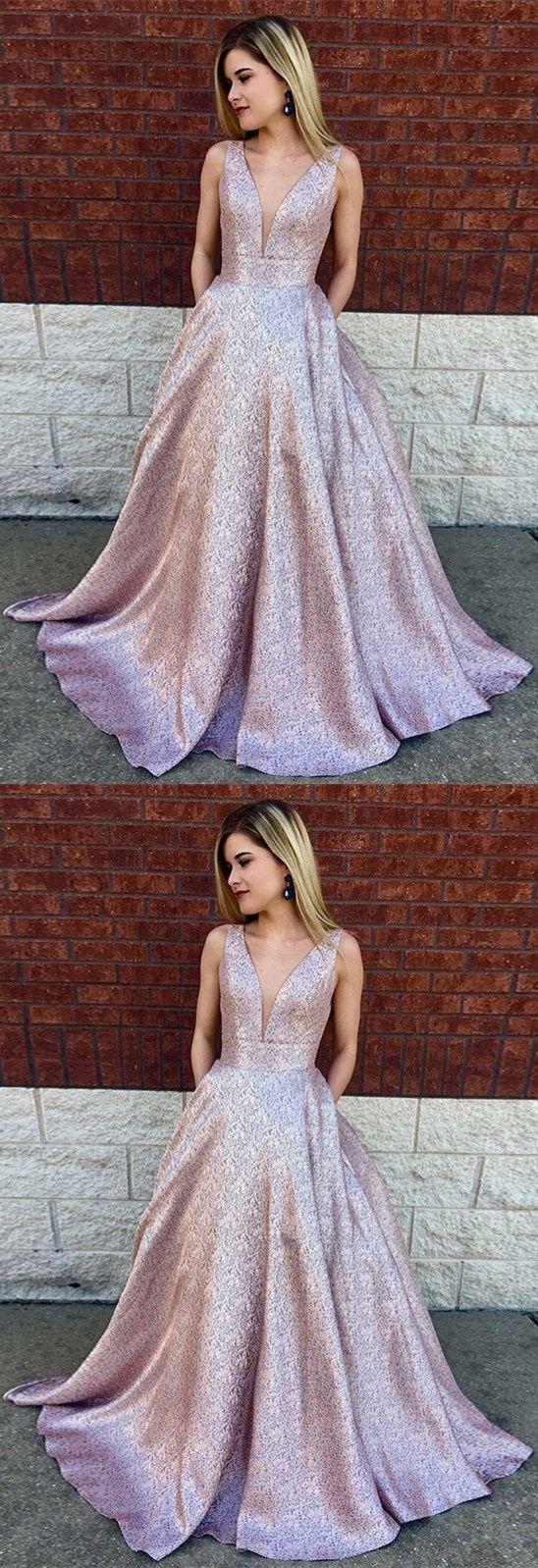 Deep vneck aline long lilac printed satin prom dress with pockets