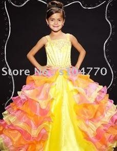 416d7bc0cc Free Shipping wholesale/retail yellow Flower girl dress /beauty ...