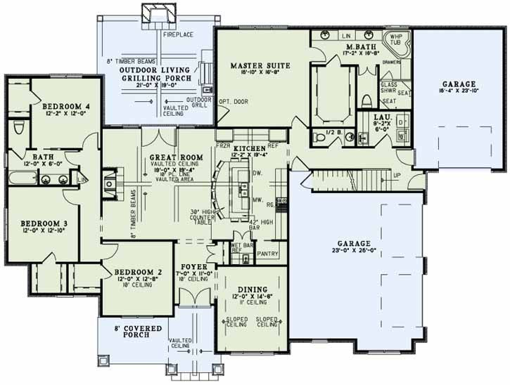 4 bedrm ranch bonus room floor plan 2370 sq ft for Ranch floor plans with bonus room