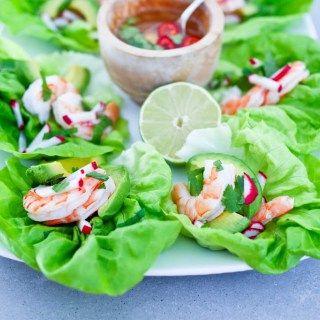 Vietnamese Shrimp and Avocado Lettuce Wraps   www.feastingathome.com