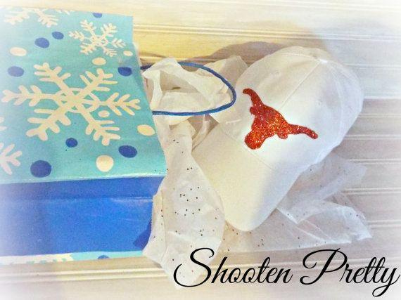 FREE SHIPPING White baseball hat with glittered by ShootenPretty