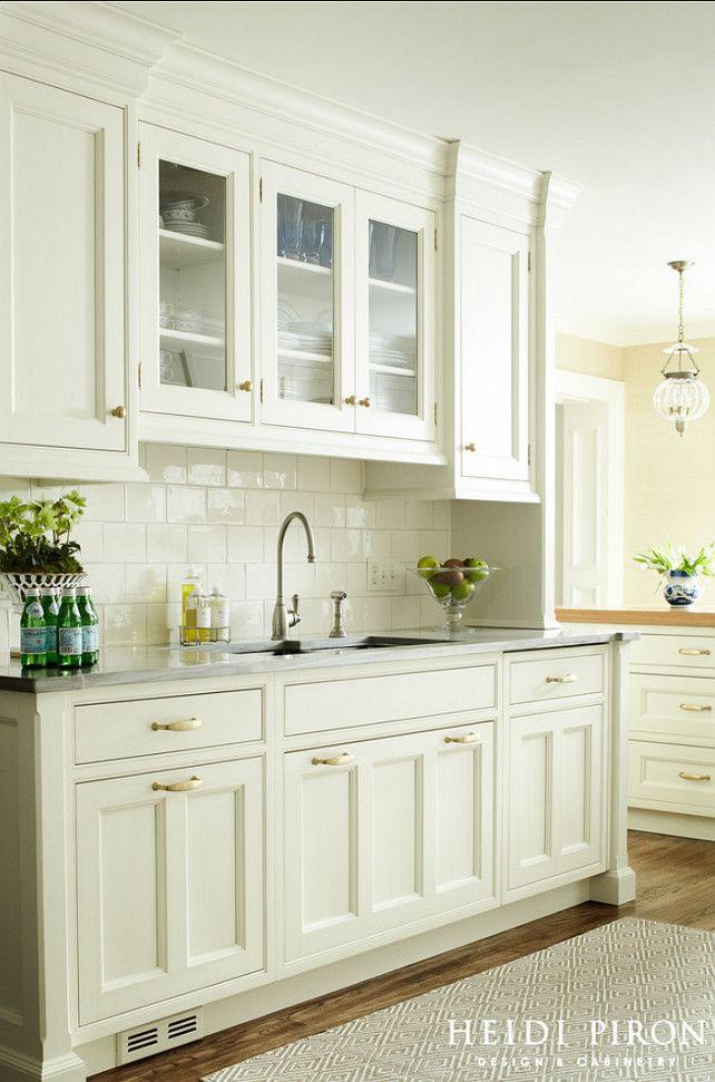 Cream Glass Subway Tile Off White Kitchen Cabinets White