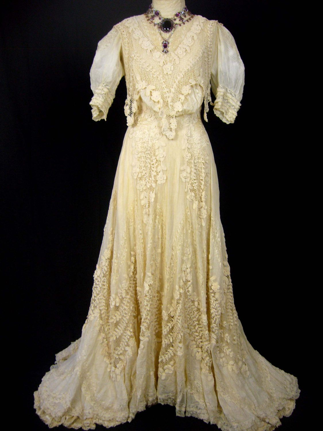 irish lace ivory silk late 1800s ornate wedding gown