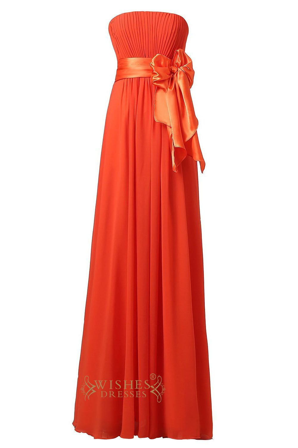 827df06914ab Cheap Orange Chiffon Strapless Sweetheart Floor Length Bridesmaid Dress For  Wedding Am22