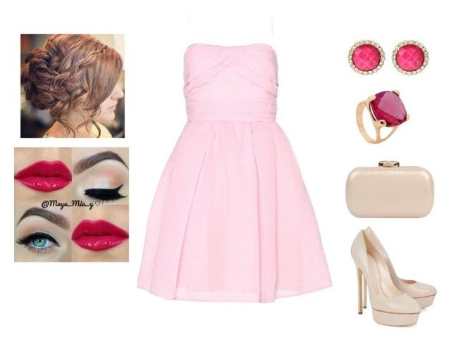 """""""Pink prom outfit"""" by muppets-cookie-monster ❤ liked on Polyvore featuring Carven, Casadei, Amrita Singh and Urban Expressions"""