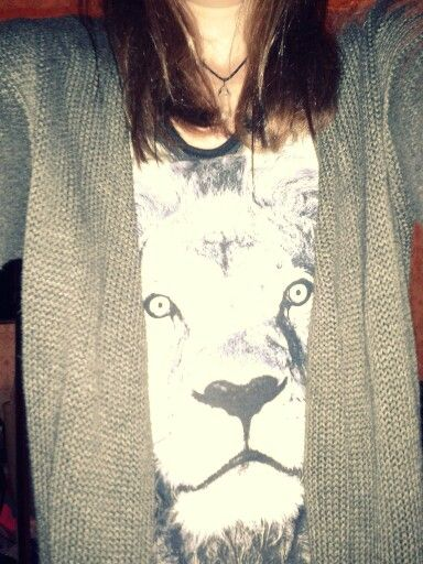 lion teeshirt and grey sweater