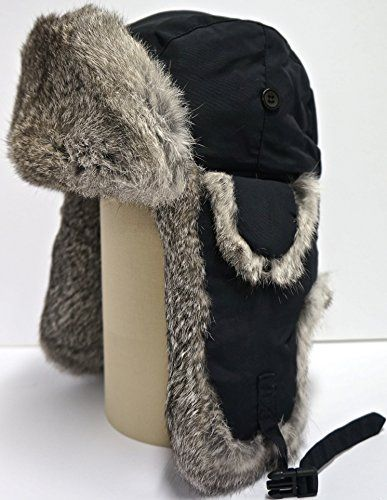 59f77c04c68 Hunting Fashion Alaskan Trail Brand Mad Premium Rabbit Fur Bomber Hat (Black  Shell   Natural
