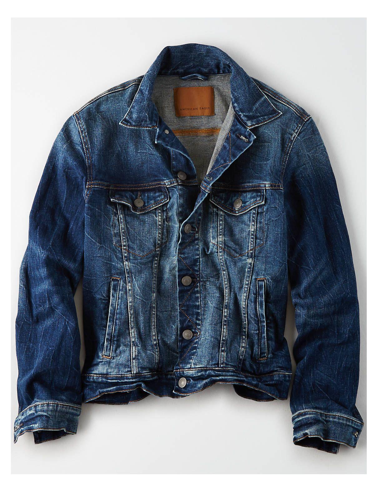 Ae Dark Wash Jean Jacket Washed Blue American Eagle Outfitters Dark Wash Denim Jacket Jean Jacket Men Denim Jacket Women [ 1575 x 1211 Pixel ]