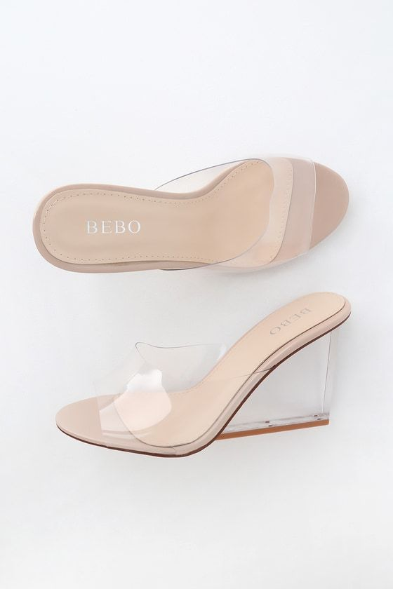 3ec3b2e1ff8 Lulus | Taylee Clear and Nude Patent Lucite High Heel Wedge Sandal ...
