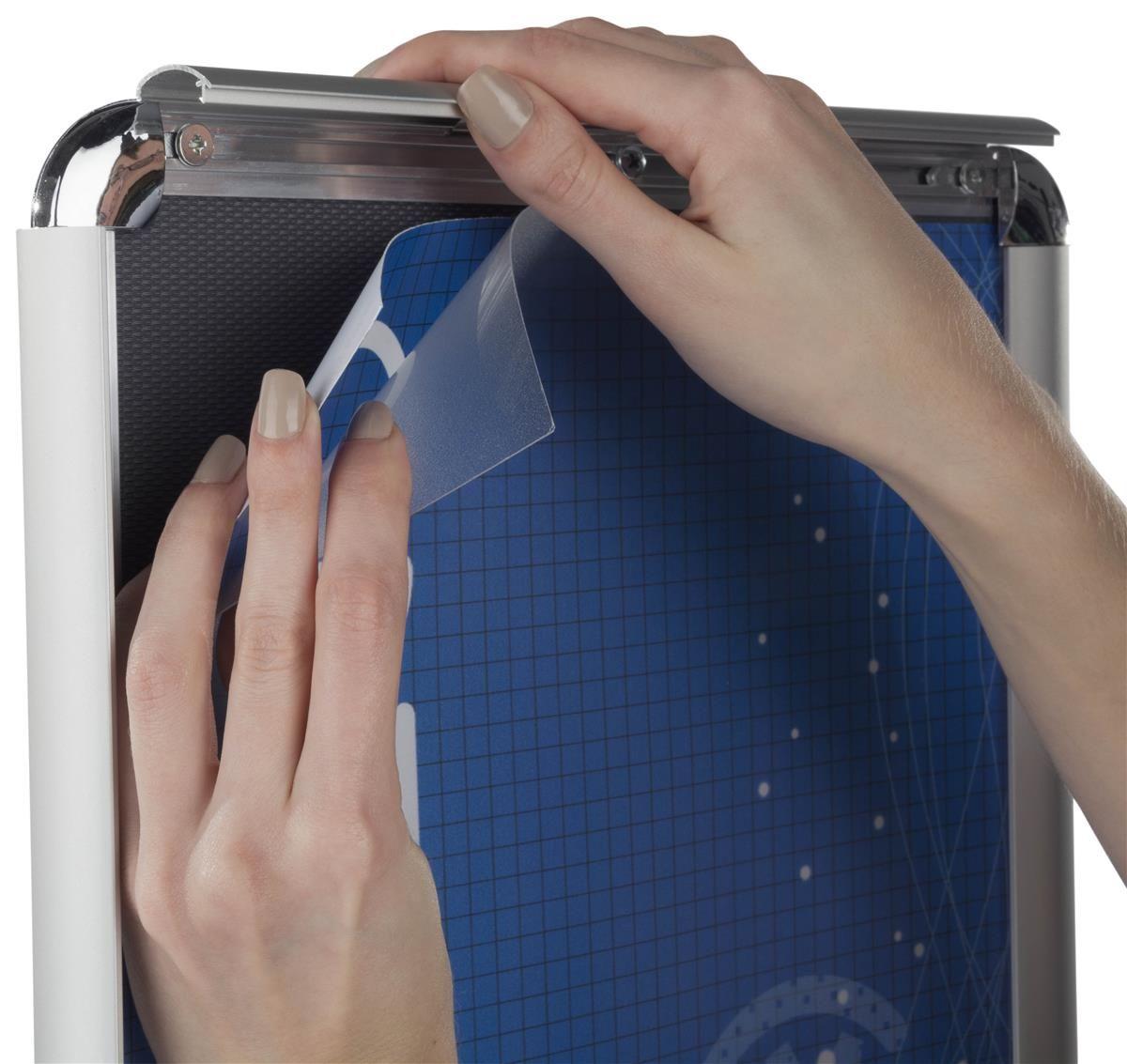 Hand sanitizer dispenser with 85 x 11 sign frame floor