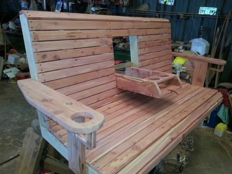 Swing With Folding Console And Drink Holders Holz Ideen