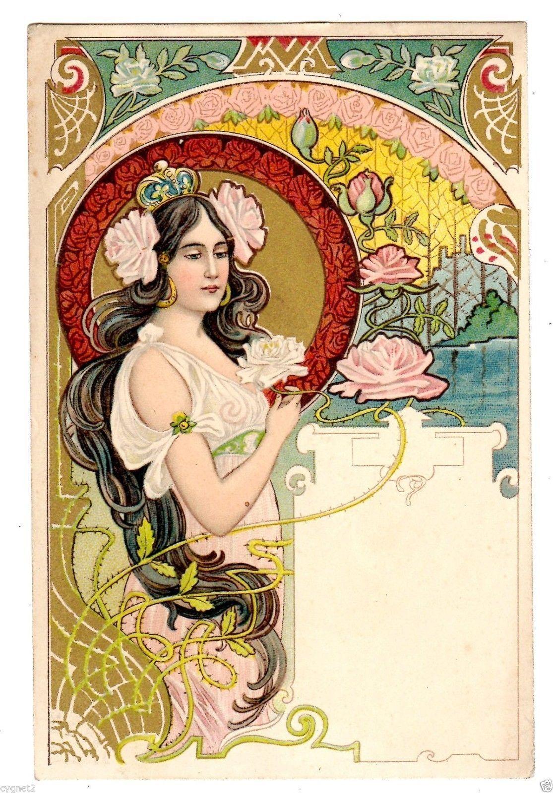 Postcard Art Nouveau Jugendstil Woman With Roses Ebay Art Nouveau Poster Art Nouveau Illustration Art Nouveau