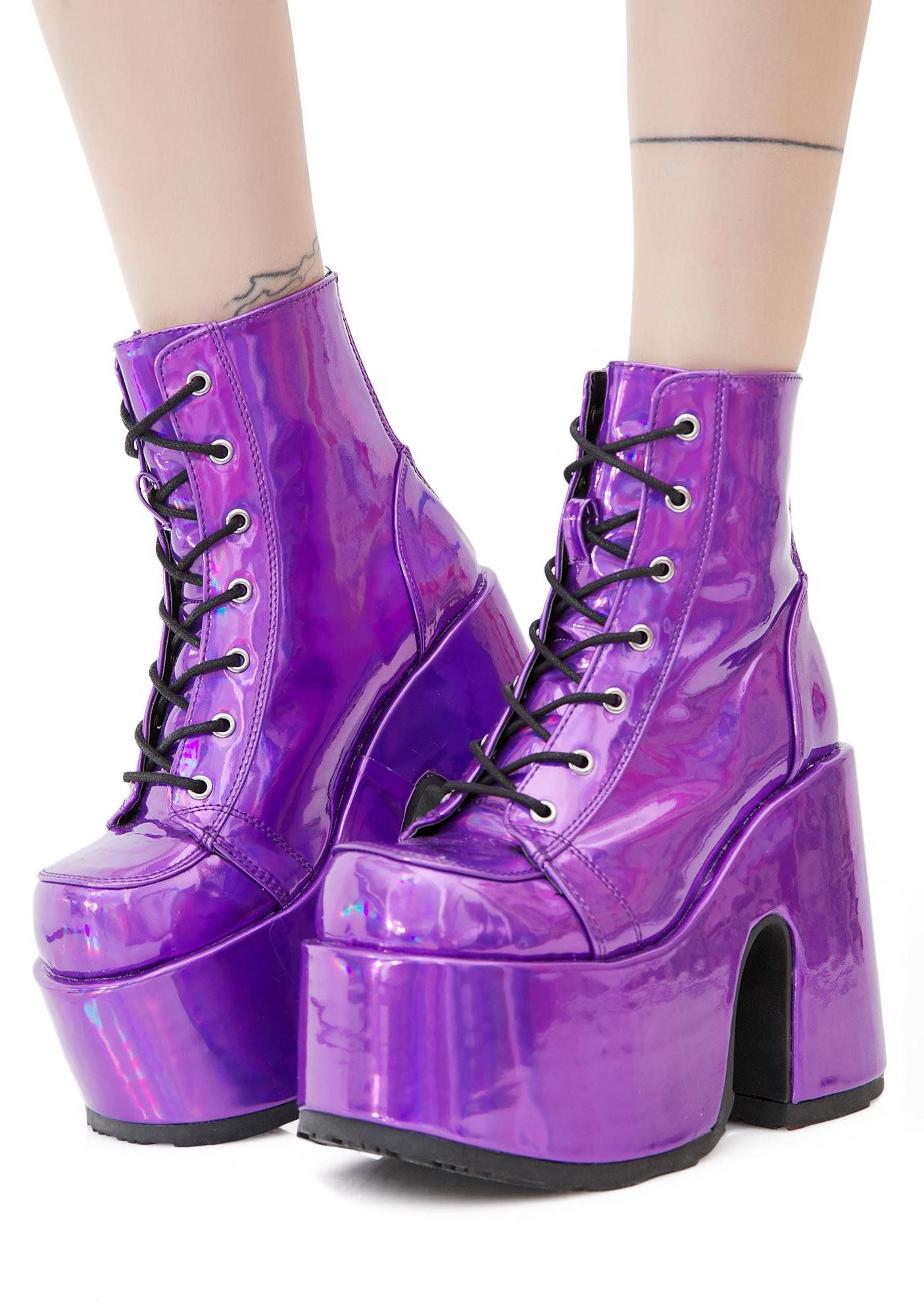 ef20a603e4 Demonia Rave Royalty Holographic Platform Boots should we curtsy  These  crazy bright holographic boots have an ultra thick platform sole  N heel