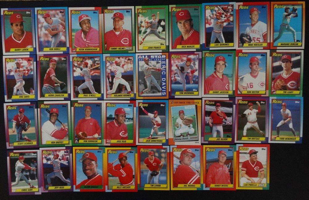 1990 topps cincinnati reds team set of 35 baseball cards