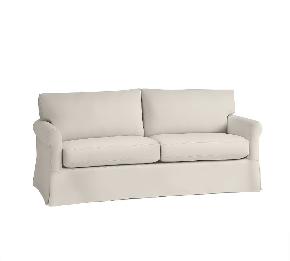 York Roll Arm Slipcovered Loveseat 62 Quot Down Blend Wrapped