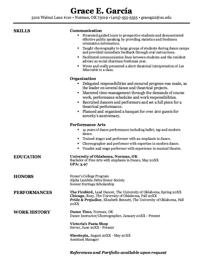 Fine Arts Dance Sample Resumes Examples Resume Cv Freshman Orientation Resume Resume Cv