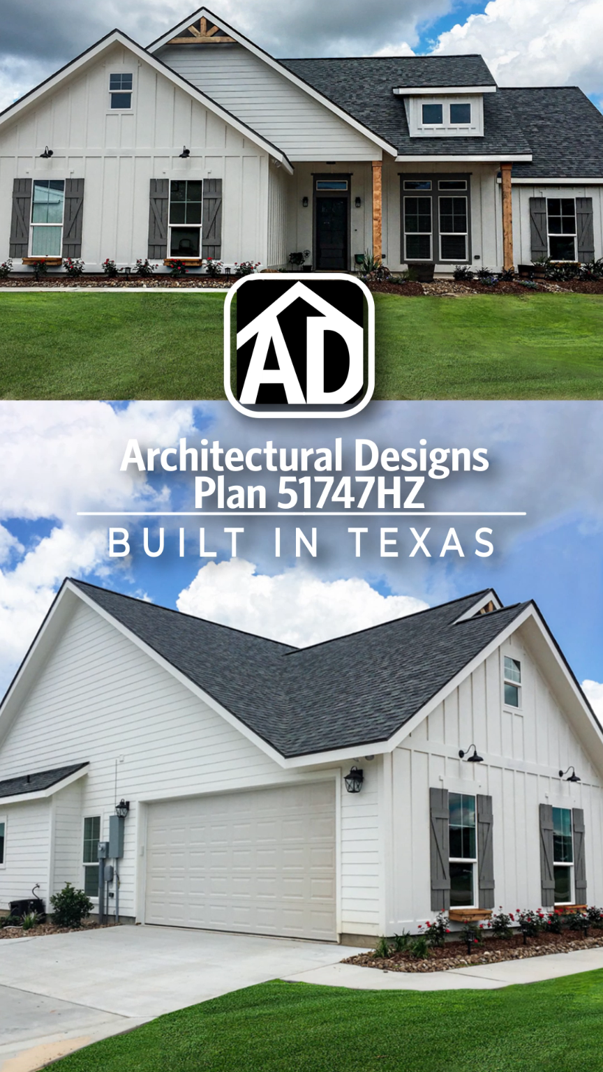 Architectural Designs House Plan 51747HZ client-built in Texas | 3 BR | 2 BA | 1,600+ sq. ft.| Ready when you are. Where do YOU want to build?  #51747HZ #architecturaldesigns #adhouseplans #houseplan #architecture #newhome #newconstruction #newhouse #homedesign #dreamhome #dreamhouse #homeplan #architecture #architect #housegoals #client-built #client #southern #home #house #farmhouse #modernfarmhouse #modernfarmhouseexterior
