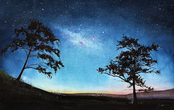 Space Painting Watercolor Landscape Art Print Aurora Borealis Galaxy Painting Tree Art Tree Silhouette Nightscape Night Sky Watercolor Night Sky Watercolor Landscape Galaxy Painting