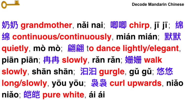 Reduplicated words in Chinese | chinese vocabulary | Learn