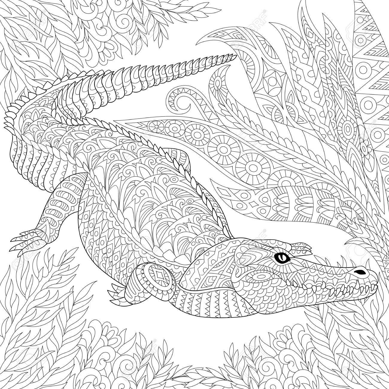 Stock Photo Adult Coloring Krokodil Dschungel Und Malvorlagen