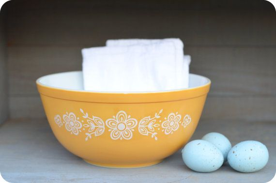 Buttercup Yellow Pyrex Bowl Large by CraneFarms on Etsy, $12.00