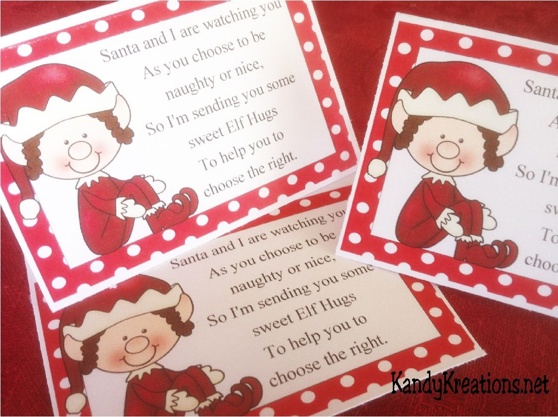 Elf Hugs Candy Topper Printable