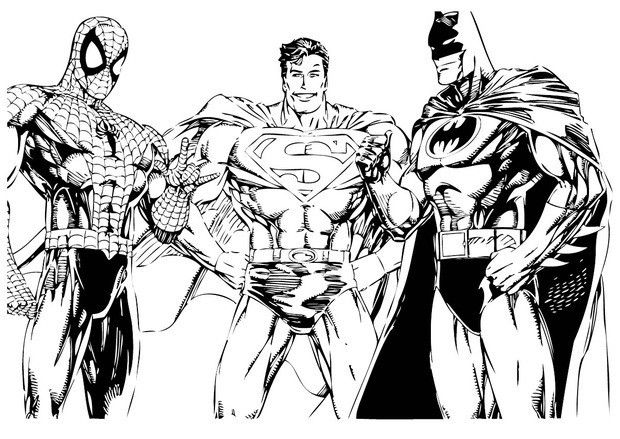 batman spiderman and superman coloring page more free coloring pages on hellokidscom