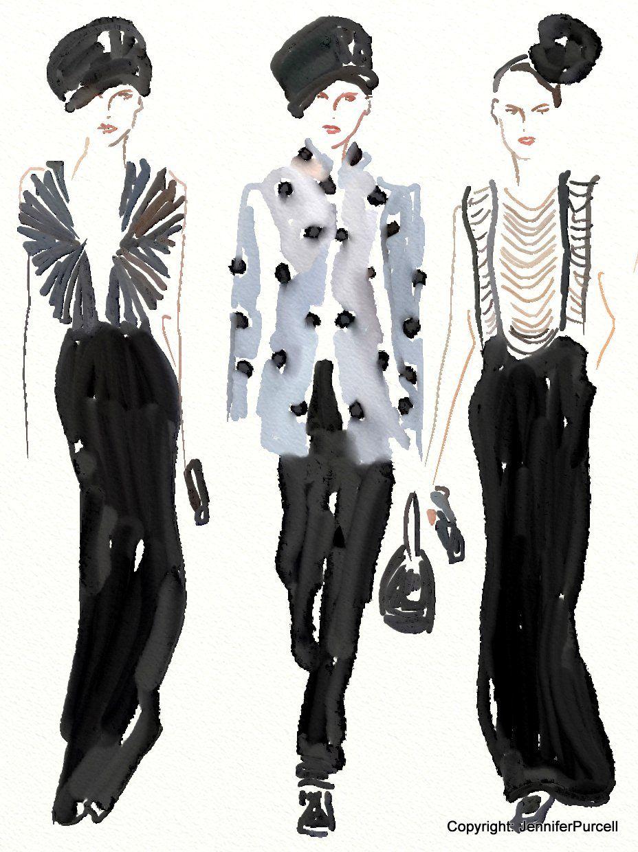 Palettes Of Fashion: Giorgio Armani Fashion Illustration Fall 2013 by Jennifer Purcell