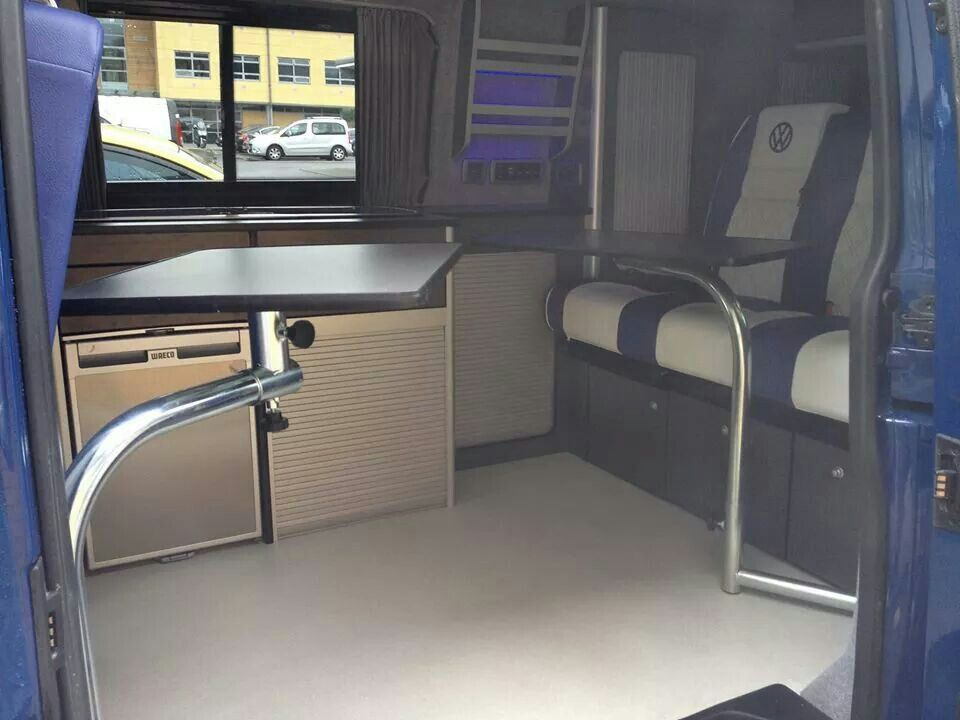 I love the blue and white vw transporter interior t5 for Vw t4 interior designs